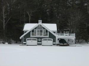 Muskoka Boat House in Winter