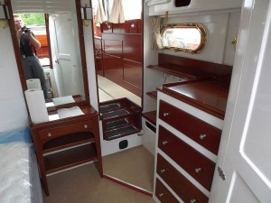 ANtique Chris-Craft cabin cruiser ready to launch
