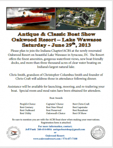 Why not mosey on down to the Wawasee ACBS Show near Syracuse, Indiana?