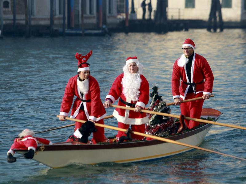 Santa Claus in a boat
